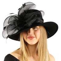 Winter Fancy Satin Wool Felt Big Floral Floppy Wide Brim Derby Church Hat Black
