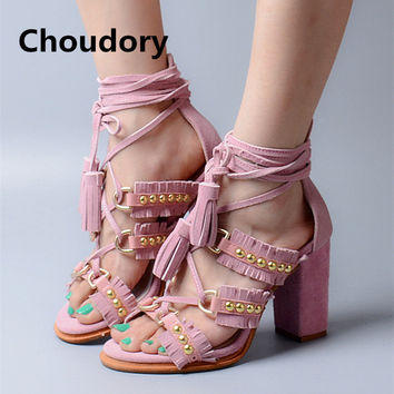 Choudory Fashion Lace Up Women Sandals Suede Leather Fringe High Heels Shoes Woman Rivets Peep Toe Women Pumps Summer Ankle Bo