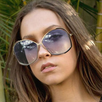 NEW OVERSIZE HUGE VINTAGE 70's RETRO FASHION Style WOMEN SUNGLASSES