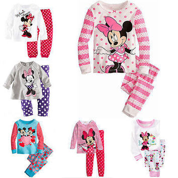 Minnie Cartoon Mouse Baby Toddlers Kids Girls Polka Dots Stripe Nightwear Pajamas Set