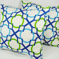 Two Sofa Pillow Covers Blue Teal and White - 18 x 18 inches Couch Pillow Cushion Cover Accent Pillow