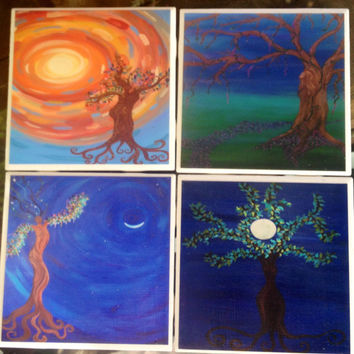 Tree Spirit- Set of 4, Tile Coasters, original art, paintings