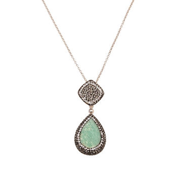 Green Chrysoprase Two-Part Teardrop Necklace