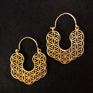 Seed of Life Sacred Geometry Hoop Earrings, Indian Brass Earrings, Tribal Hoop Earrings, Geometric Pattern Earrings