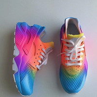 Tie dye Neon Nike Air Huarache customs. Unisex.