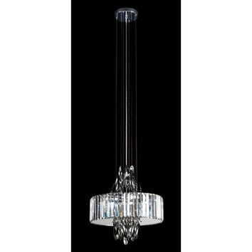 Trans Globe Lighting MDN-1142 Polished Chrome Chimes 18-Inch Crystal Pendant with Cubic Cut Crystal Shade, Frosted Glass Diffuser
