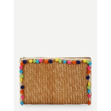 Multicolor Straw Clutch Bag With Pom