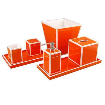 Orange & White Lacquer Bathroom Accessories
