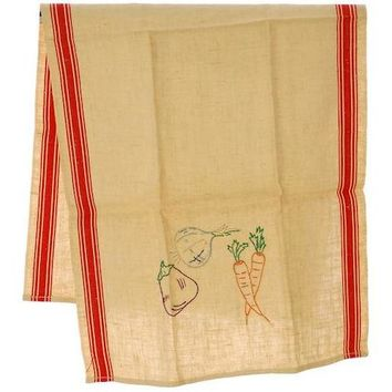 Vintage Kitchen Linen Dish Towel Never Used 1940s Embroidered