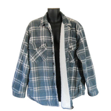 Green Flannel Shirt 3X Men Flannel Shirt 90s Grunge Flannel Shirt Sherpa Lined Plaid Flannel Shirt 90s Grunge Shirt Men 90s Clothing Clothes