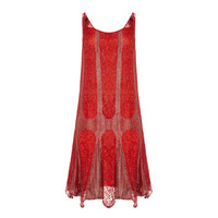 1920's Red and Silver Lame Flapper Dress