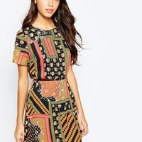 Style London Dress In Patchwork Print