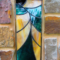 Modern Nouveau Stained Glass, Here's the Teal