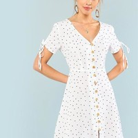 Polka Dot Drawstring Sleeve Button Up A-Line Dress
