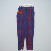 Vintage 1990's Buffalo Bills Pink and Purple Zubaz Lounge Pants with Elastic Waist - Size Medium
