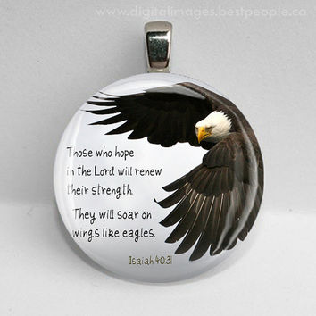 GLASS tile pendant necklace ISAIAH 40 31 bible verse quote eagle mens baptism womens 30mm