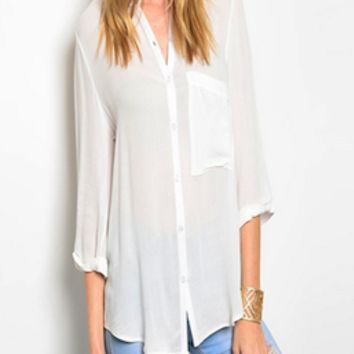 White Sands Button Front Top