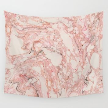 Pink Marble Wall Tapestry by allisone