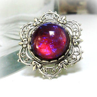 Dragons Breath Ring Fire Opal Ring Victorian Filigree Ring Vintage Glass Ring Fleur di Lis Ring