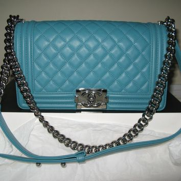 Authentic Chanel Turquoise Blue Le Boy Bag Old Medium