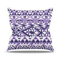 "Pom Graphic Design ""Tribal Simplicity II"" Purple White Outdoor Throw Pillow"