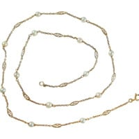 Delicate 18K solid gold, pearls and filigree links necklace, stamped French gold chain