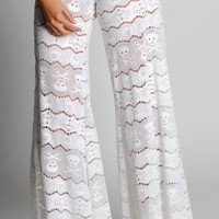 Honeymoon White Embroidered Skull Pants