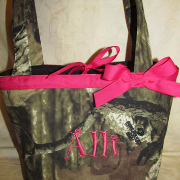 custom handmade mossy oak infinity camo camoflauge purse/ tote / handbag you choose name
