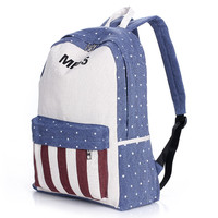 Big Mess Stars and Red Stripes Canvas Backpack