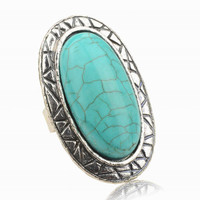 Adjustable Rings Women JewelryVintage Look Tibetan Women Alloy Antique Blue Oval Turquoise Rings SM6