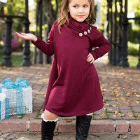 Girls Button Cowl Neck L/S Tunic- Burgundy