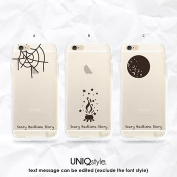 Halloween Transparent clear case for iPhone 6 iPhone 4/4s 5/5s 5c Samsung Note3 S4 S5, spiderweb witch moon cool case w/ custom texts - A116