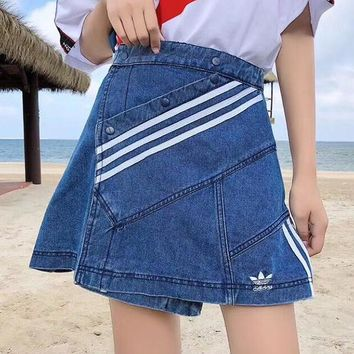ADIDAS Women Fashion Denim Stripe Skirt