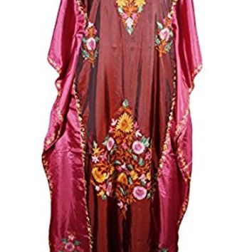 Mogul Womens Caftan Maxi Dresses Kashmiri Embroidered Shaded Desire Aadya Silk Kaftans (Maroon, Pink)