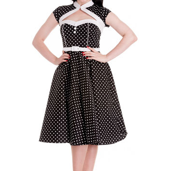 Hell Bunny Metro Mod Black and White Polka Dot with Bolero Swing Dress