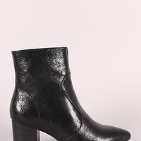 Wild Diva Lounge Cracked Chunky Heeled Booties