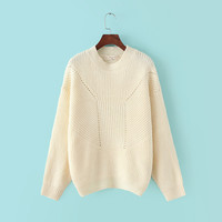 Winter Hollow Out Bat Round-neck Long Sleeve Pullover Sweater [6332300932]