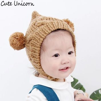 Cute Unicorn Dual Ball Knitted Baby Caps Boys Girls Hairball Ear Baby For 3Months-2Y Hat Cute Children Caps 1 pcs sturdy hats