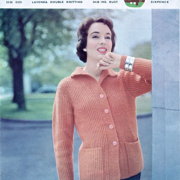 Original 1950's Knitting Pattern - Women's Jacket Cardigan - Lavenda Hand Knit 498 - Vintage Pattern