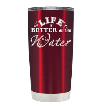 TREK Life is Better on the Water on Translucent Red 20 oz Tumbler Cup