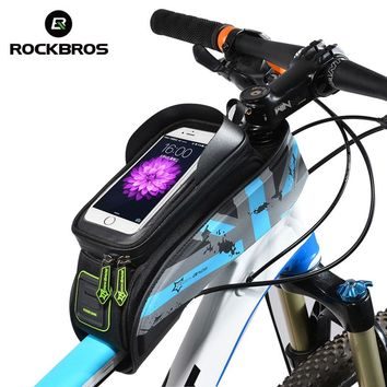 Rockbros MTB Road Bike Bag Waterproof Bicycle Front Saddle Bag Cycling Top Front Tube Bags 5.8'' 6'' Touchscreen Phone Case