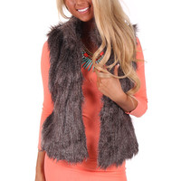 Grey Mixed Faux Fur Vest