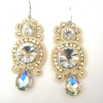 TWINKLE soutache earrings in ivory with clear by BlackMarketJewels
