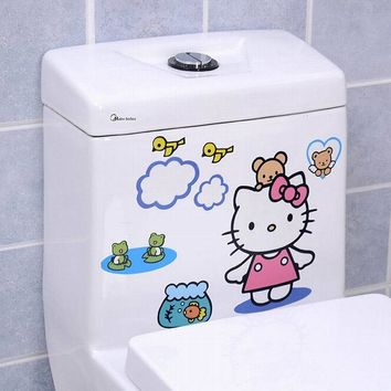 Cute Hello Kitty Bear Chicken Toilet Sticker Bathroom Wall Stickers Home Decoration Wall Decals