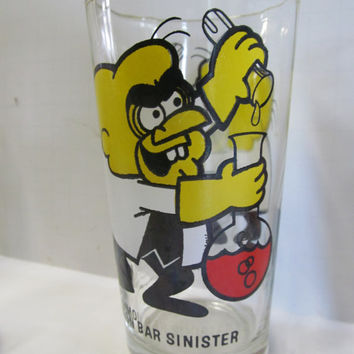 Immaculate Condition Simon Bar Sinister Glass Vintage Cartoon Glassware Pepsi Cola Collectible Glasses Pepsi Collector Series Glass Tumblers
