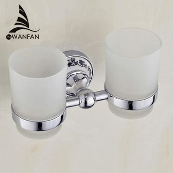Cup & Tumbler Holders Metal Chrome Silver Toothbrush Holder With 2 Glass Cups Wall Mounted Ceramic Bathroom Accessories