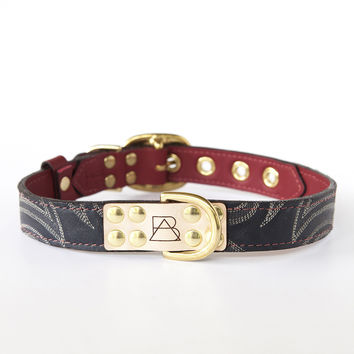 Ruby Red Dog Collar with Navy Leather + Ivory and Gray Stitching