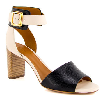 Chloé Black and Cream Ankle Strap Sandal