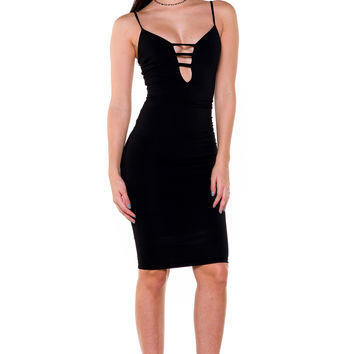 (akx) Caged plunge spaghetti straps knee length black dress