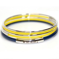 Michigan Wolverines - Multi-Layered Sterling Silver Bracelet